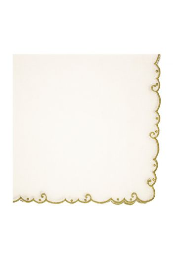 Gold Bordered Embroidered White Linen Napkin