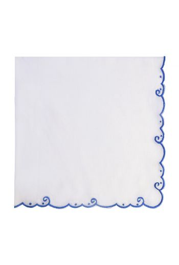 Blue Bordered Embroidered White Linen Napkin