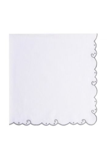 Grey Bordered Embroidered White Linen Napkin