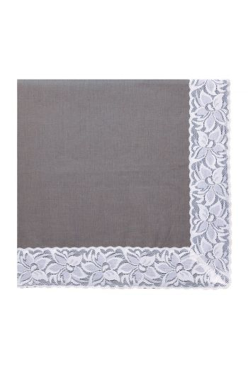 Grey Linen Napkin with White Lace Trimming