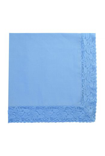 Blue Linen Napkin With Blue Lace Trimming