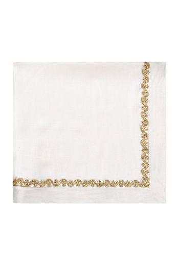White Linen Napkin with Gold Rope Embroidery Trimming
