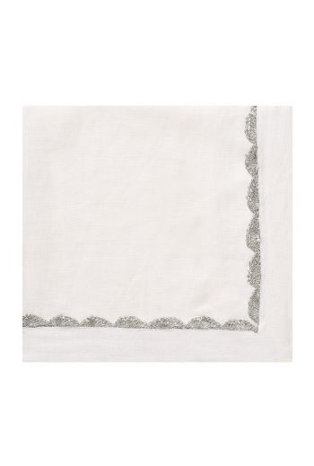 White Linen Napkin with Silver Rope Embroidery Trimming