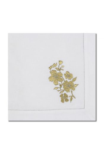 Embroidered Gold Flower Napkin