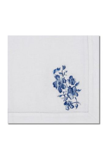 Embroidered Blue Flower Napkin