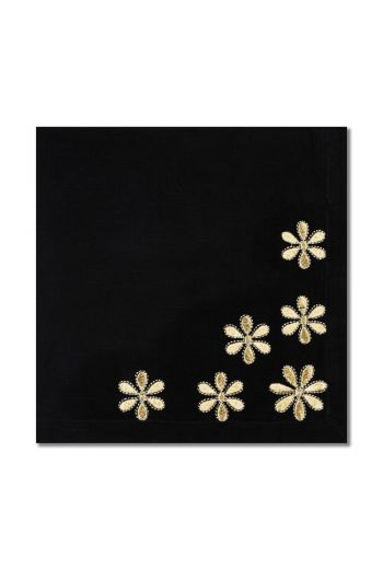 Black With Gold Daisys Napkin