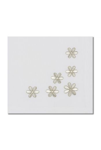 White With Silver Daisys Napkin