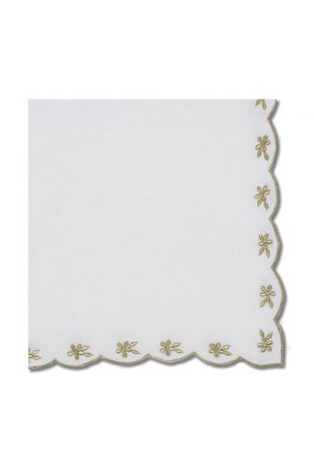Gold Flower Border Napkin