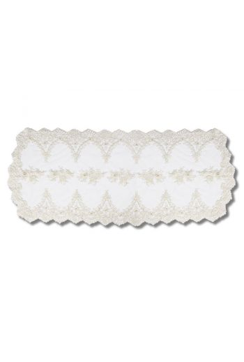 Large Lace and Pearl Embroidered Runner
