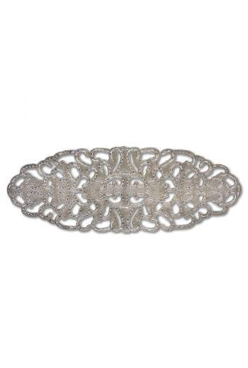 Silver Beaded Lace Circular Runner