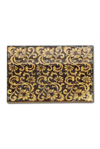 Gold and Black Glass Lace Mirror Placemat