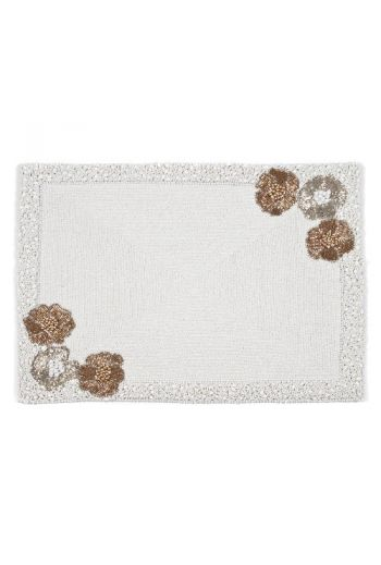 Flower Placemat in White Beading