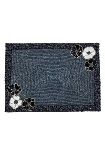 Flower Placemat in Black Beading