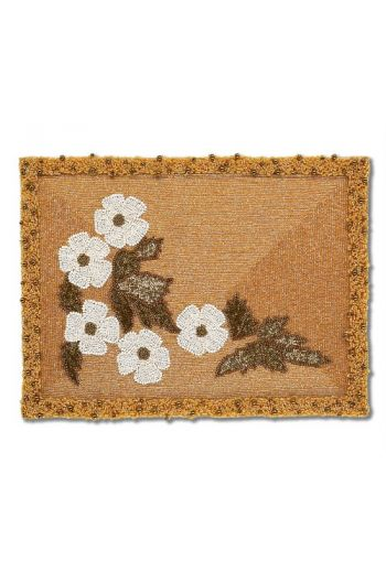 Gold Rectangular Hand Beaded Placemat With White Flower Motif
