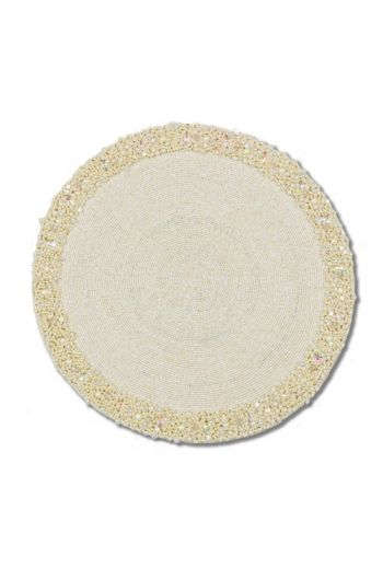 Ivory and Pearl Beaded Placemat