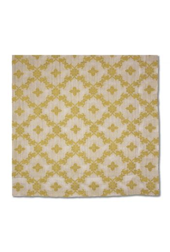Elegant Floral Gold and White Napkin