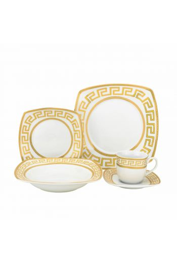 Joseph Sedgh Golden Greek Key 20 Pc Porcelain Dinnerware Set - Service for 4