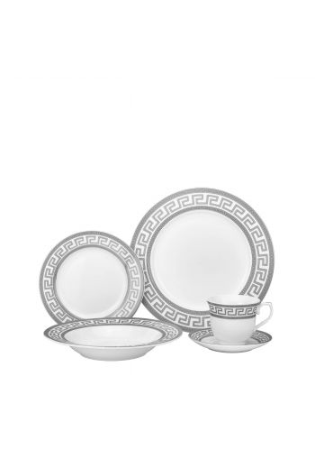 Joseph Sedgh Greek Key  20 Pc Porcelain Dinnerware Set - Service for 4