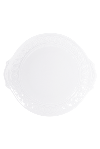 "Bernardaud Louve Round Cake Plate with Handles - Measures 11"" d"