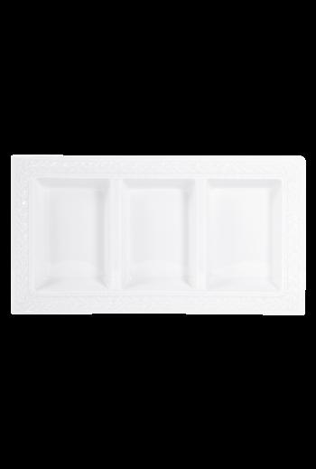 "Bernardaud Louve Three-Compartment Tray - Measures 7"" w x 13"" d"