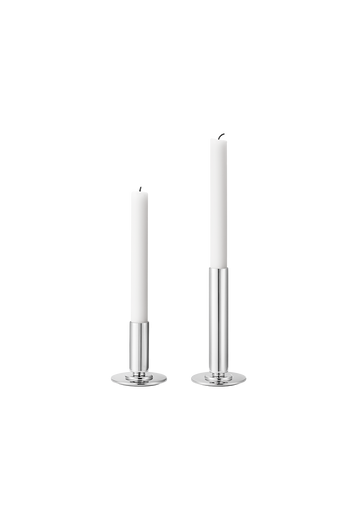 Georg Jensen Manhattan Mirror Polished Stainless Steel Candleholder Set, Small And Large - Small: H: 85 mm W: 80 mm. Large: H: 165 mm W: 80 mm