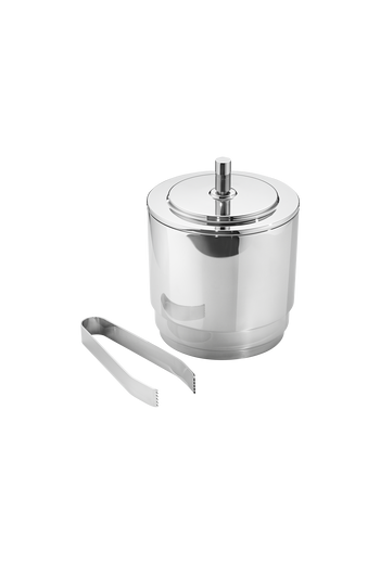 Georg Jensen Manhattan Ice Bucket With Tongs Mirror Polished Stainless Steel - Bucket: H: 181 mm Ø: 146 mm. Tong: H: 20 mm W: 50 mm D: 157 mm