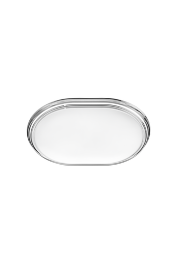 Georg Jensen Manhattan Tray Mirror Polished Stainless Steel - H: 1.1 inches. W: 15.75 inches. Ø: 11.81 inches.