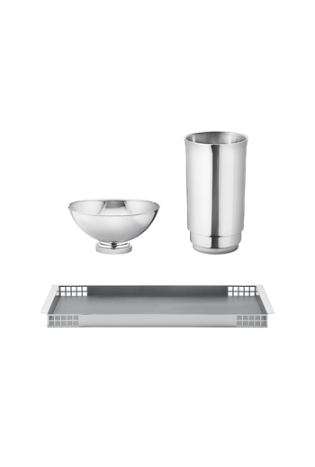 Georg Jensen Manhattan Set With Matrix Tray Stainless Steel - H: 5.71 inches. W: 1.65 inches. Ø: 0.71 inches.
