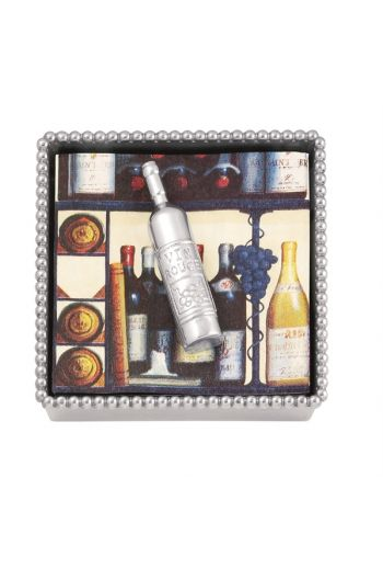 Wine Bottle Beaded Napkin Box
