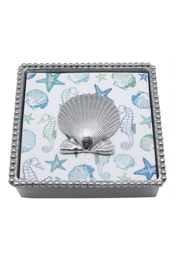 Scallop Shell Beaded Napkin Box