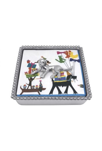 Labrador Beaded Napkin Box NEW NAPKIN