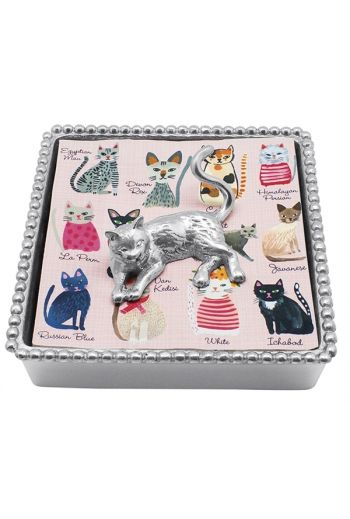 Cat Beaded Napkin Box