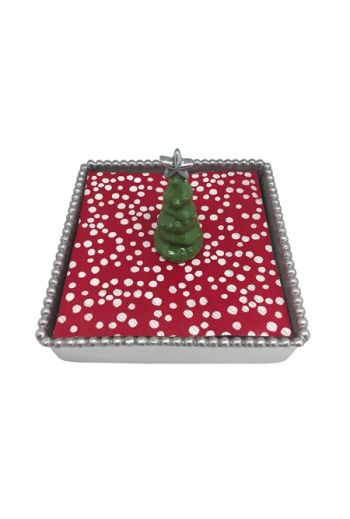 3D Green Tree Beaded Napkin Box
