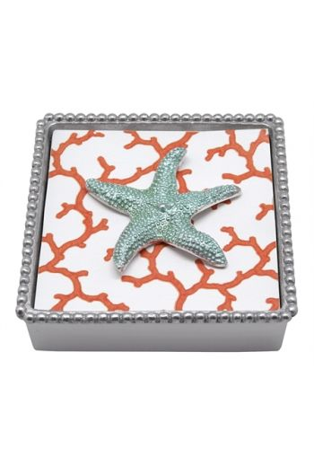 Aqua Starfish Beaded Napkin Box