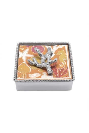 CORAL BEADED NAPKIN BOX NEW NAPKIN