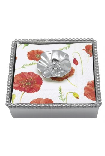 BLOSSOM BEADED COCKTAIL NAPKIN BOX NEW NAPKIN
