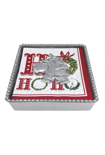 BEADED BOX WITH SANTA WEIGHT
