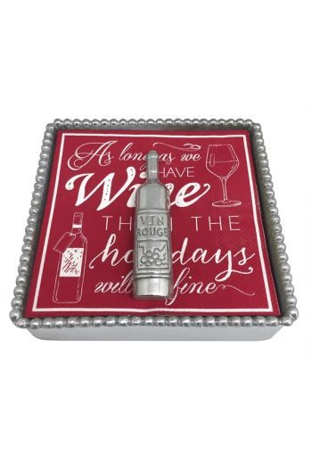 HOLIDAY WINE BEADED NAPKIN BOX