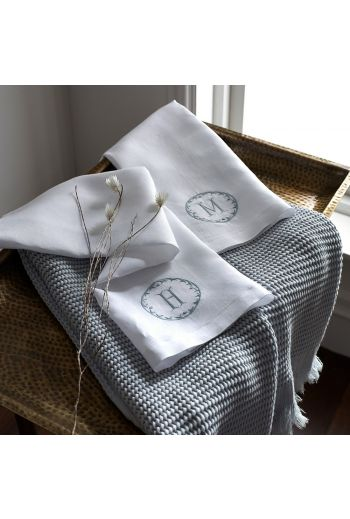 MATOUK Carta Custom Monogram Guest Towels 17x21 (Set of 4) - Available in Pool