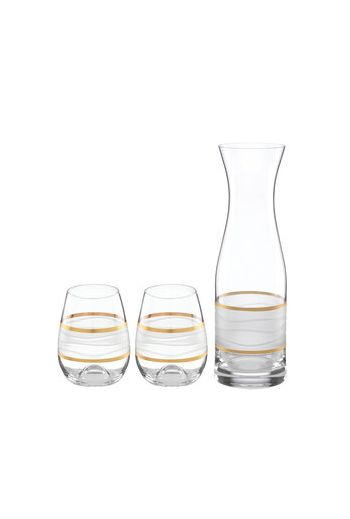 "Wainwright Ile De Re Gold Carafe with 2 Stemless Wine Glasses - h11.25""  28 oz.,  h 4.5""  12 oz."