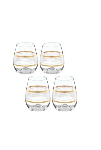 "Wainwright Ile De Re Gold Stemless Wine Glasses - Set of 4, h 4.5""  12 oz."