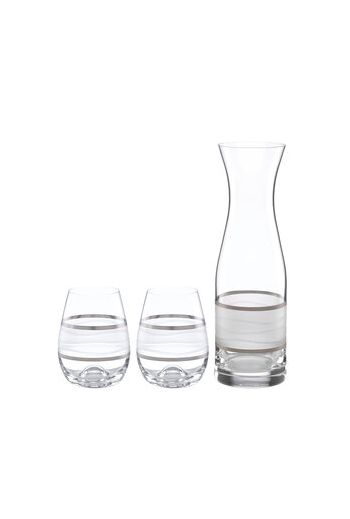 "Wainwright Ile De Re Platinum Carafe with 2 Stemless Wine Glasses - h 11.25""  28 oz.,  h4.5""  12 oz."