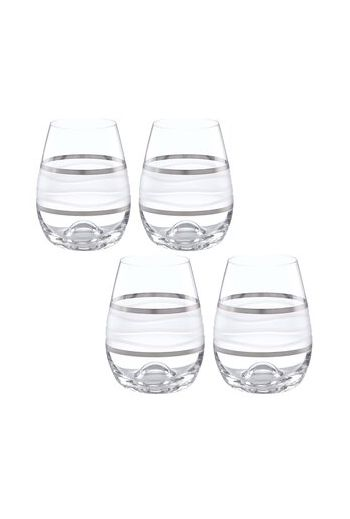 "Wainwright Ile De Re Platinum Stemless Wine Glasses - Set of 4, h 4.5""  12 oz."