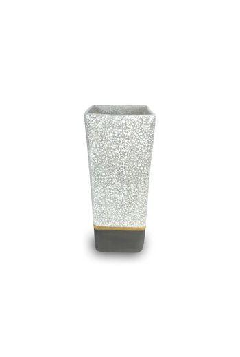 "Wainwright Raku Gold Square Vase - 9"" h x 4"" d"