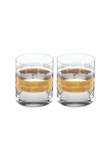 "Wainwright Truro Gold Double Old Fashioned, Set of 2 - 9"" height  13 oz"