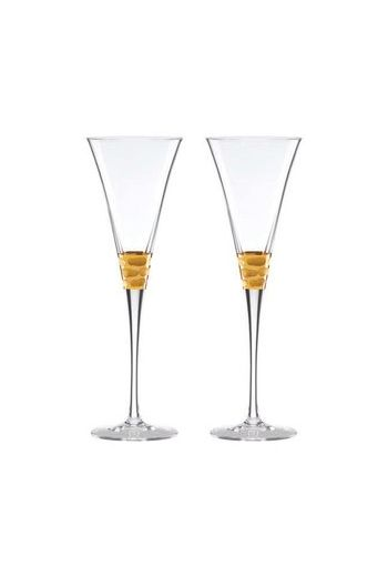 "Wainwright Truro Gold Toasting Flute, Set of 2 - 9"" height  8 oz"