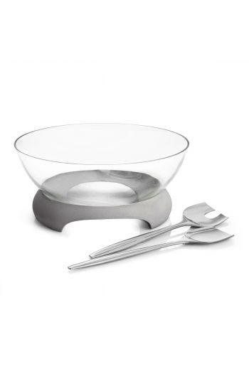 Forte Glass Salad Bowl w/ Servers