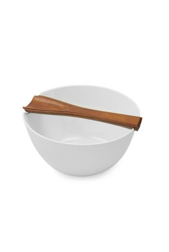 """Quatro Salad Bowl w/ Servers Bowl: 11"""" D x 5.5"""" H; Servers: 11"""" L"""