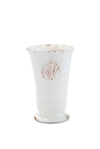 Vietri Rustic Garden White Small Ruffle Vase w/ Emblem