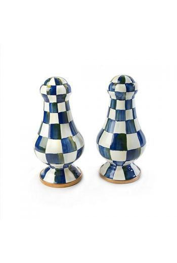 "MacKenzie-Childs Royal Check Large Salt & Pepper Shakers - 3.25"" dia., 6.375"" tall"